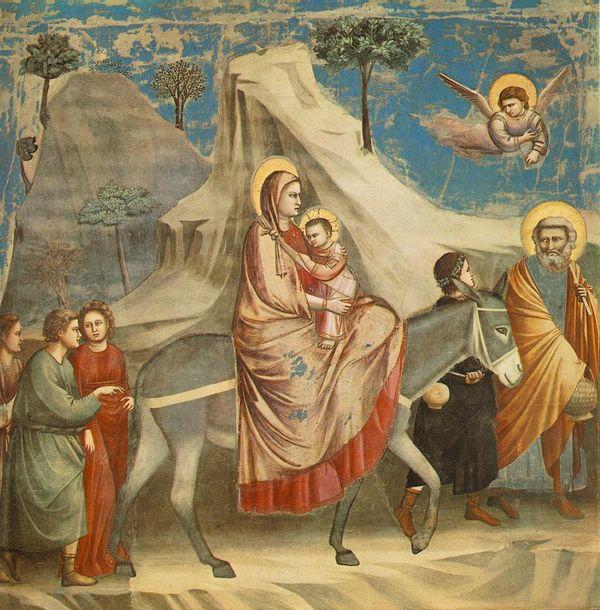 A fuga para o Egito, passagem que só aparece no Evangelho de Mateus, em pintura de Giotto. Crédito: Reprodução