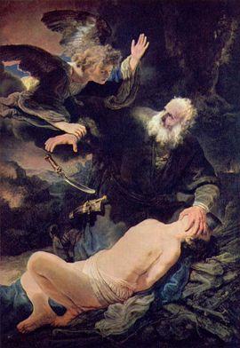 Anjo impede Abraão de sacrificar seu filho Isaac