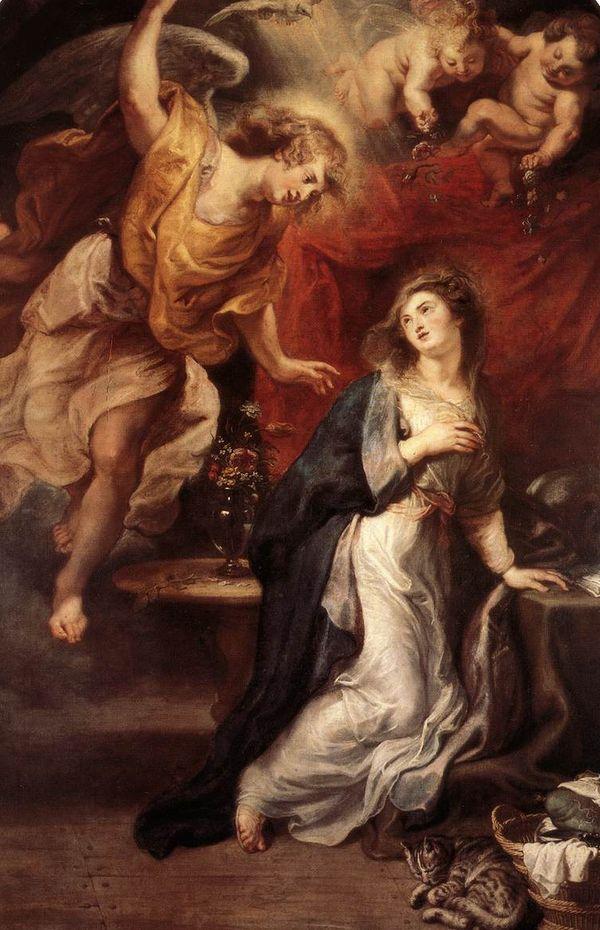 A Anunciação, em pintura de Rubens. Crédito: Reprodução
