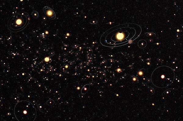 Concepção artística da nossa galáxia repleta de sistemas estelares. (Crédito: ESO)
