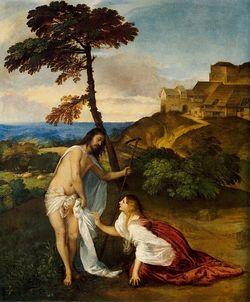 Madalena encontra o Jesus ressuscitado, em obra de Ticiano (Crédito: Reprodução)