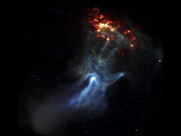 """Imagem do pulsar PSR B1509-58, a célebre """"Mão de Deus"""", feita pelo Observatório de Raios X Chandra, da Nasa"""