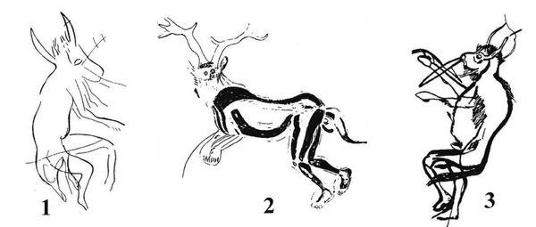 Seres antropozoomórficos (com traços de animais e humanos) descobertos em Trois-Frères, na França (Crédito: Reprodução)