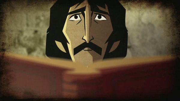 Giordano Bruno lê livro proibido em seu monastério (Crédito: Reprodução)