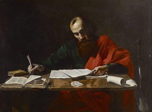 O apóstolo Paulo escrevendo suas epístolas (ou forjando a existência de Jesus, se você for um teórico da conspiração). Crédito: Reprodução