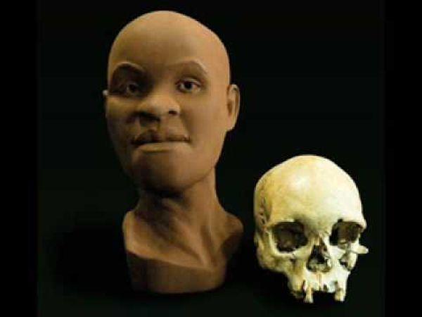 """O crânio da """"brasileira"""" Luzia e sua reconstrução artística (Crédito: Reprodução)"""
