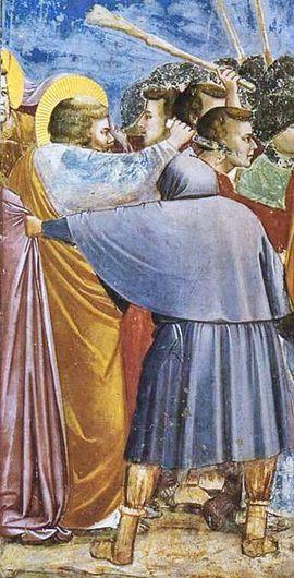Em detalhe da imagem acima, apóstolo Pedro decepa orelha de servo do sumo sacerdote (Crédito: Reprodução)
