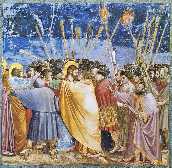 Judas trai Jesus com um beijo em obra do mestre da pintura medieval, o italiano Giotto (Crédito: Reprodução)