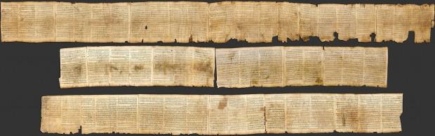 Rolo do livro do profeta Isaías achado perto do mar Morto (Crédito: Museu de Israel)