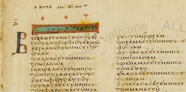 O primeiro capítulo do Evangelho de Mateus no Códex Vaticano (Crédito: Reprodução)