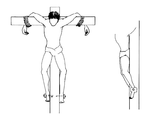 Um dos possíveis jeitos de reconstruir a posição de Yehohanan quando crucificado. (Crédito: Reprodução)