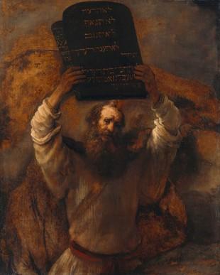 Moisés prestes a quebrar os Dez Mandamentos em imagem de Rembrandt (Crédito: Reprodução)