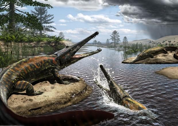 Reconstrução da espécie em obra do paleoartista Rodolfo Nogueira (Crédito: Divulgação)