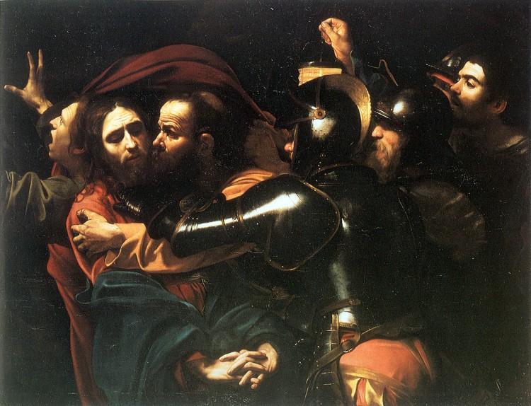 Caravaggio retratando o beijo de Judas e a prisão de Jesus