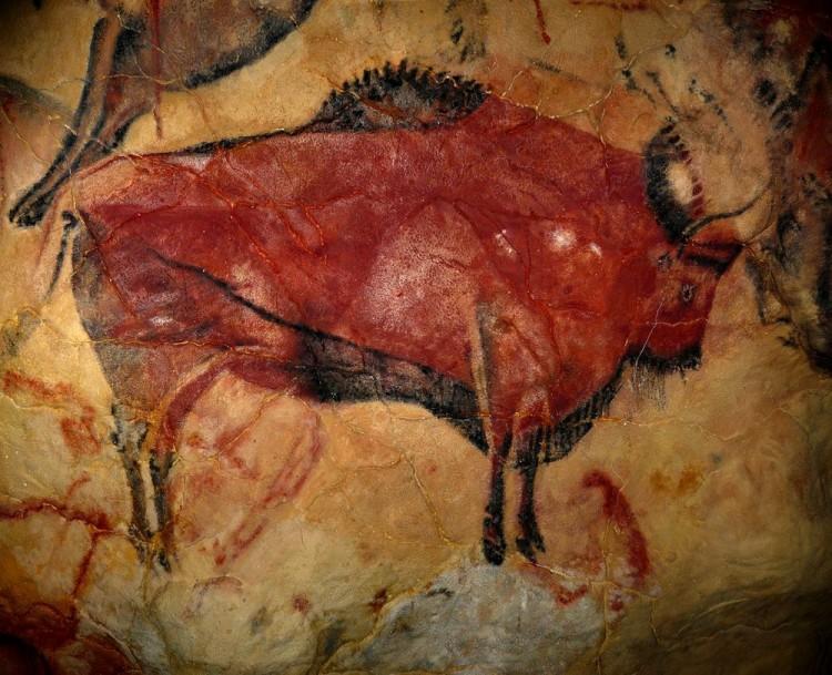 Pintura rupestre de bisão-europeu feita em Altamira, Espanha (Crédito: Reprodução)